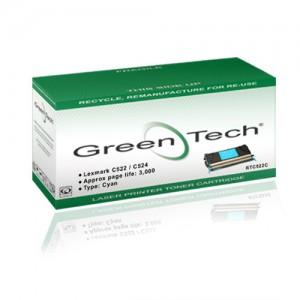 GreenTech RTC522C remanufactured Lexmark 00C5222CS cyan laser toner cartridges