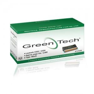 GreenTech RTC522K remanufactured Lexmark 00C5222KS black laser toner cartridges